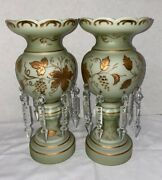 Vintage Pair Victorian Era Mantel Lusters-mint Green And Gold With Chrystals