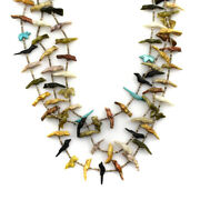 Andrew Emerson Quam - Zuni 3-strand Necklace With Bird Carvings 30 Long