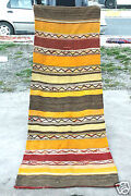 Antique 1900-1939and039s Wool Pile Natural Dyed Flat-woven Kilim Runner Rug 2and0399andtimes8and039