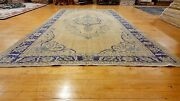 Bohemian Antique 1940and039s Distressed Wool Pile Muted Dye Oushak Area Rug 8x11ft