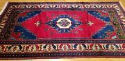 Rare Antique Cr1940-1950and039s Wool Pile Natural Dye Tribal Area Rug 5and0392andtimes9and03910