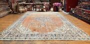 Primitive Antique Cr1900-1939s Muted Natural Dye Wool Pile Oushak Area Rug 6x9ft