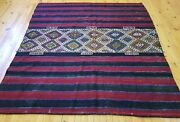 Antique 1930-1940s Wool Pile Bohemian Embroidered Panels Rug 6x6ft
