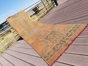 Primitive Antique 1930-1940and039s Wool Pile Natural Dye Runner Rug 2and03911andtimes 11and0394and039and039