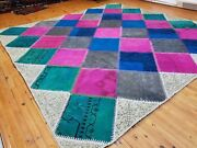 Beautiful Antique 1930-1940and039s Multi-colored Wool Pile Patchwork Area Rug 9x9ft