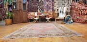 Beautiful Antique Cr1900-1939and039s Muted Natural Dye Wool Pile Oushak Rug 4and0399andtimes9and0391