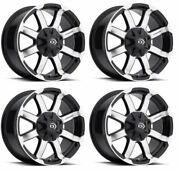 Vision Wheel 413-6807gbmf0 Set Of 4 Black W/machined Face 413 Valor 16x8 Rims