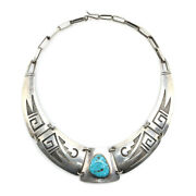 Hopi Guild Turquoise And Silver Necklace, C. 1930s-40s, 14