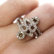 1.5 Ctw Natural Brown White Diamond Solid 14k White Gold Cluster Statement Ring
