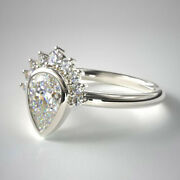 Pear Cut 0.76 Ct Real Diamond Wedding Ring 18k White Gold Size 7 6 5 4 Sale