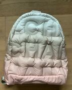 Authentic Doudoune Backpack Embossed Nylon Pink/beige/white