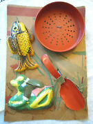 1930s Ohio Art Carded Sand Toy Tin Litho Fish, Frog, Sifter, Shovel Nrfc-exc