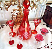 Antique Cranberry Collection Tall Cordial Set, Two Dainty Cordials, Two Candleh