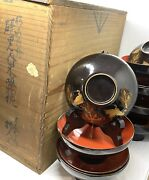 Rare Antique Japanese Black/red Gold Cranes Soup Bowls W/lids In Orig Wooden Box