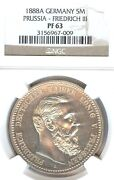 German States Prussia 1888 5 Mark Coin Thaler Taler Ngc Pf 63 Proof Rare Unc Pp