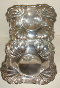Pair Of Antique Sterling Silver By F B Rogers Square Fluted Bowls Bowl 140