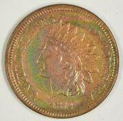 1872 Indian Head Cent 1c About Uncirculated Au Details Cleaned Nice Color Toning