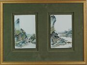 Chinese Porcelain Plaque Landscape Figures Boats In Qianjiang Style. 190...