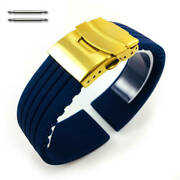Blue Rubber Silicone Replacement Watch Band Strap Gold Double Lock Buckle 4015g