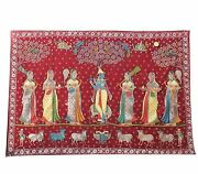 Embroidery Pichwai Wall Hanging Lord Krishna Gold Leafing Vintage Collectible In