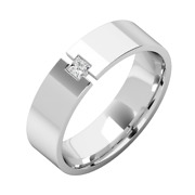 Mens Wedding Band Platinum 6mm Solitaire Princess Cut 0.08 Cts With Flat Top