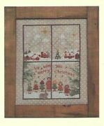 Christmas Window 5--carolers-village-snow--counted Cross Stitch Pattern W/button