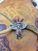 Toby Henderson Navajo Pin/pendant - Eagle Dancer Sterling Silver Coral - Signed