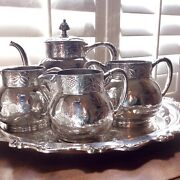 Antique Heirloom Pairpoint Silver Quadruple Plate Tea Service Set From 1880 Mass