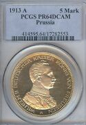 German States Prussia 1913 5 Mark Coin Thaler Taler Pcgs Pr 64 D Cameo Proof Pp