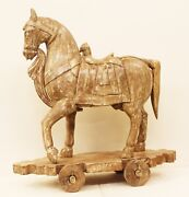 Horse Statue Wood Home Decor Art Handmade Vintage Collectible India Us47w