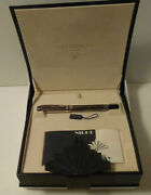 Waterman Le Man 200 Silver Night And Day Fountain 18k Gold Med Pt Pen New In Box