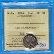 Canada New Brunswick 1864 10 Cents Ten Cent Silver Coin - Iccs Vf-30