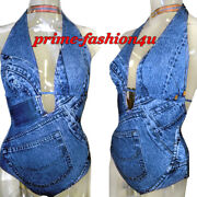 John Galliano For Christian Dior Vintage 90and039s Trompe Land039oeil Denim Print Swimsuit