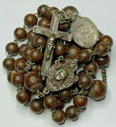 † Antique Hallmarked Sterling Relic Theca Cross Opens Tiger Like Bead Rosary †