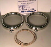 1930-1931 Model A Ford Headlight Stainless Steel Rims And Cork Gaskets