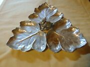 Vintage Rabbit W 3 Leaves Silver Look Serving Platter/tray Made In Mexico