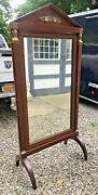 Antique French Empire Bronze Mounted Mahogany Cheval Dressing Mirror