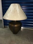 Vintage Style Table Lamps With Shades Set Of 2/base Like Metal But Is Cast