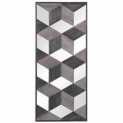 Modern Graphic Cubes Mirrored Wall Art Wood Squares Geometric 48 In Tall Diamond
