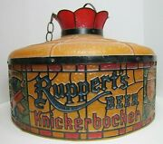 Ruppertand039s Knickerbocker Beer Faux Stained Glass Shade Lamp Light Bar Pub Ad Sign