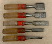 Vintage Lot Of 5 Stanley Handyman Woodworking Chisels Usa
