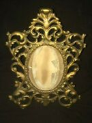 Antique French Rococo Brass Hinged Easel Picture Frame Oval Photo Frame 8 X 11