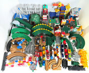 Huge Lot Fisher Price Geotrax Train Engines Remotes Buildings Track 275 + Pieces