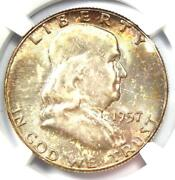 1957 Franklin Half Dollar 50c Coin - Certified Ngc Ms67 Fbl - 2450 Value