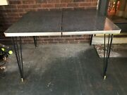 Vintage Dinette Table Formica Style Gray Chrome Kitchen Mid Century Antique1950s
