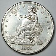 1876-cc Trade Silver Dollar T1 - Au Details With Chop Marks - Rare Coin