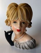 Fabulous 1960s Large Relpo 7 Head Vase Model K-1761 Faux Pearl Jewelry And Label