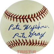 Pete Wyshner Autographed Al Baseball Inscribed Pete Gray Psa - St. Louis Browns