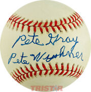 Pete Gray Autographed Al Baseball Inscribed Pete Wyshner Psa - St. Louis Browns