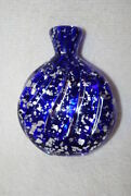Victorian Style Mica Cobalt Blue Swirl Crystal Glass Perfume Scent Bottle Flask